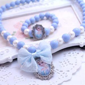 Joyería para niños Accesorios para muñecas para niños Princesa congelada Collar con pulsera Set 2 pcs / lote Candy Beads Necklace Girls Gifts