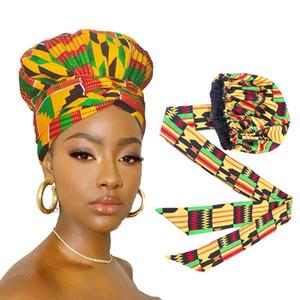 Afrikanisch Satin Bonnet mit dem langen Band Wrap Double Layer Headwrap Ankara Muster-Frauen-Haar-Abdeckung Großer Haar-Verpackungs-Cap