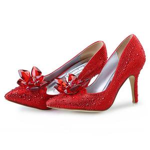Bombas de moda para mujer zapatos de cristal Cinderella rhinestone stiletto puntiagudo zapatos de novia rojo bridesmaid tacones altos