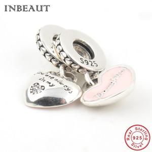 Double mère fille concentrique charme de coeur fit tendance Bracelet Pandora en argent Sterling 925 Vous êtes toujours dans mon coeur famille perles