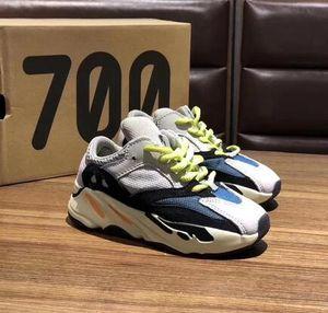 700 enfants Chaussures Designer coureur de vague solide gris Inertie extérieur Chaussures bébé Mauve Kanye West 700 Chaussures enfants Chaussures de sport en cours Taille 28-35