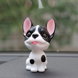 Ornamento del coche Pvc Bulldog Francés Shake Head Toy Muñecas Decoración Linda Automóviles Salpicadero Interior Asintiendo con la cabeza Perro Figura Adornos
