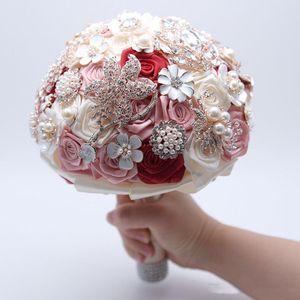 2019 Düğün Buket Lüks Kristal Rhinestone Gelin Güller Buketleri Broş Inci Gelin Çiçek Deco Düğün Parti Malzemeleri