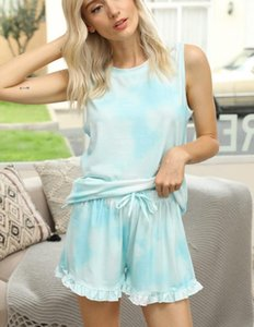 Libère pour Pyjama Tiedye pour femmes ras du cou Tie Dye Pyjama court Définit Set Tie Dye Pyjama imprimé floral Garden2010