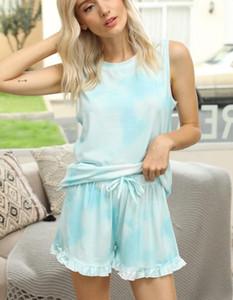 Frees para Pijama Tiedye para Womens Crew Neck Tie Dye Pajama curta Define Set Tie Dye Pijama Floral Imprimir Garden2010