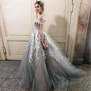 2020 Nouveau gris et robe de dentelle blanche de mariage robe de bal Encolure mancherons Corset Retour Princesse Vintage 2020 Château de mariage Robes de mariée