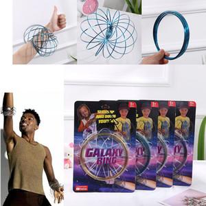Galaxy Halka Toroflux Akış Yüzükler 5 INÇ Paslanmaz Çelik Kinetik Bahar Metal SUS 304 Toroflux Sihirli Akış Halkası sihirli bilezik Interaktif Oyuncaklar
