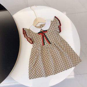 2020 luxury high quality baby girl designer dress Plaid Dress geometric printing clothing flying sleeve baby girl