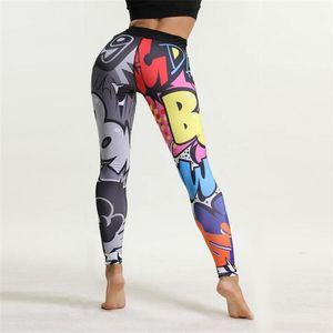 Cartoon Girl Stampa di yoga pantaloni da jogging per adolescenti fitness ghette variopinte per bambini di sport dei pantaloni a vita alta Pant allenamento di yoga pant