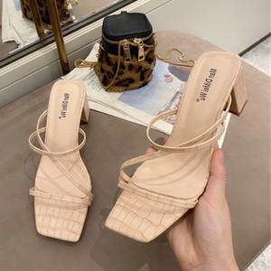 2020 New Women Slipper Square High Heels Fashion Summer Slides Narrow Band Sandals Ladies Shoes Elegant Women Shoes Plus Size 41
