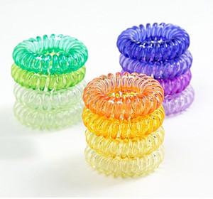 100 ADET 28 Renkler 4.1 cm Şeffaf Telefon Tel Kordon Sakız Saç Kravat Kızlar Elastik Saç Band Yüzük Halat Şeker Renk Bilezik Sıkı Scrunchy