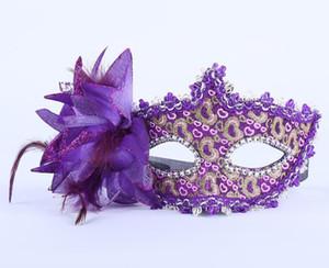 Venezianische Maskerade-Performance der Party-Blumenmaske aus Leder Party-Patch aus Leder Gold Pink Lace Mask GB418