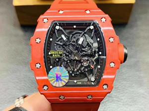 R Factory RM produzione 35-02 RAFAEL NADAL Red Devils NTPT Tutta la fibra di carbonio Caso Giappone NH automatico RM35-02 Mens Watch