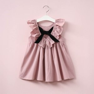New Girls Princess Dress Girls Pleated Halter dress 2020 Fashion Solid Color A-Line Dress Child Ruffle and Bow Dresses Preppy Style Cloth