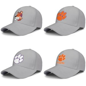 Clemson Tigers logo Men's Womens Adjustable Baseball Cap Popular Visor Hats football Logo National Champions 2018 Golden Mesh Core Smoke
