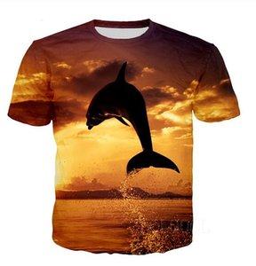 Nouveau Mode Hommes / Womans Dolphin Chemise d'été drôle de style unisexe 3D Imprimer Hauts T-Shirt Casual Taille Plus T0104