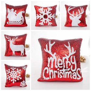 40*40cm Merry Christmas Sequin Pillow Case Glitter Sofa Throw Cushion Cover Pillow Case Home Christmas Decor Pillow Cover 6 styles DH0209