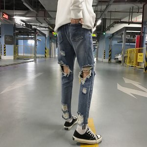 Spring Autumn New Vintage Ripped Jeans For Mens Fashion Casual Knee Length Trousers Men Clothes Pants Denim Hole Bottom DS50763