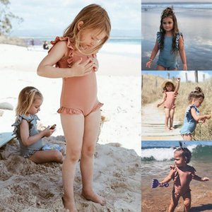 2020 New Toddler Kids Baby Girl Swimwear Ruffles Sleeveless Solid Summer Swimsuit One Piece Bathing Swimming Suit 1-6T