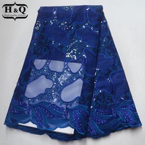 Tessuto blu reale del merletto del Africano con il tessuto africano del pizzo del organza del ricamo degli zecchini con alta qualità per l'abbigliamento 2018 di nozze