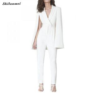 أنيقة المرأة الأبيض بذلة الأزياء خمر شال كيمونو قمم السراويل الطويلة بذلة الخامس الرقبة ارتداءها الأبيض السترة النساء وزرة