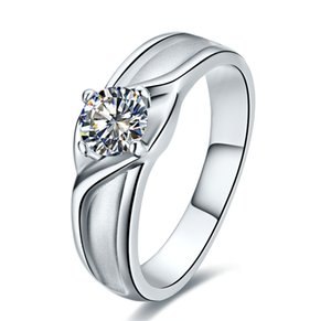0.5Ct Round Cut Moissanite Ring CHARLES & COLVARD WARRANTY 925 Sterling Silver White Gold Color Ring Anniversary Gift