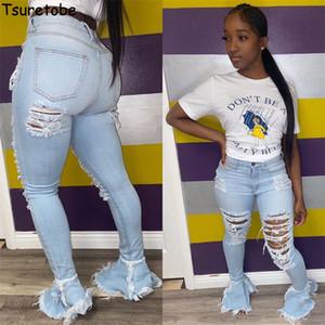 Tsuretobe Ripped jeans para mujeres de cintura alta Jeans vintage acampanado de los pantalones vaqueros con agujeros remiendo parte inferior de campana Pantalones Pantalones Denim Jean T200608