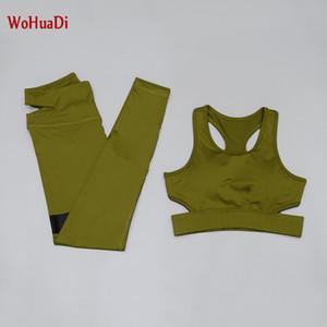 WOHUADI 2PCS Seamless Yoga Set Sportswear Sports Sexy V-neck vest Bra+Leggings Fitness Pants Gym Running Suit Clothing Athletic