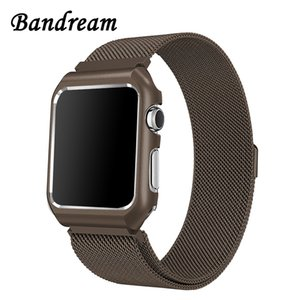 Milanese Loop Watchband + Metal Case for iWatch Apple Watch 38mm 40mm 42mm 44mm Series 4 3 2 1 Stainless Steel Band Magnet Strap