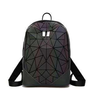 Borse Donna Luminous Zaino geometrica Designer Scuola di Moda per Ragazze riflettente Travel Bag Borsa a tracolla zaino, Nero