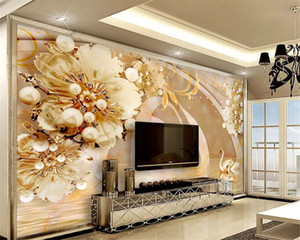 Custom photo mural wallpaper transparent floral swan lake jewelry luxury living room wall papel de parede 3d wallpaper