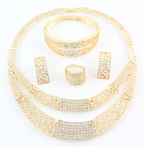 New African Costume Jewelry Sets Gold Color Fashion Crystal Rhinestone Wedding Bridal Necklace Bangle Earrings Ring Set