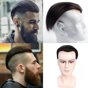 Natural Color 100% полного парик человеческих волос 18-19 CM свисающего человек Замены волос Система парики парики для Man Black Top Затворы волос