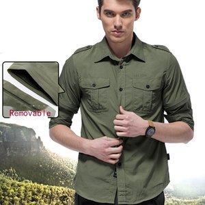Herren Nylon Quick-dry-Shirt Removable Sleeve Multitaschen Cargo-Bluse Wandern Angeln Bergsteigen Taktischer Gebrauch Camisa