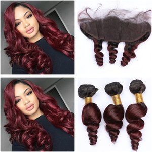 Burgundy Ombre Loose Wave Malaysian Human Hair Weaves with 13x4 Frontal Closure Wavy #1B 99J Wine Red Ombre Lace Frontal with 3Bundles