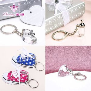 Crystal Baby Feeding Bottle Shoe Keychain In Gift Box for Baby Shower Baptism Party Gift Favor Present
