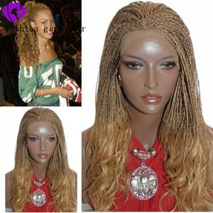 De haute qualité # 27 couleur perruque blonde micro Braid 20inches Box tresses perruque chauffent perruque avant de dentelle synthétique résistant aux extrémités bouclés pour les femmes