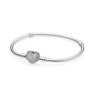 YENİ% 100 Pavé Kalp toka Fit DIY Charm Kadınlar Orijinal Moda Takı Hediyesi ile 925 Gümüş 590727CZ MOMENTS Gümüş Bilezik