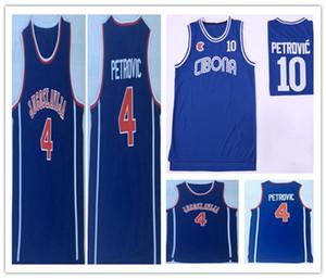 Cheap Men's Jugoslavija Yugoslavia #4 Drazen Petrovic Jersey Basketball Stitched Cibona Drazen Petrovic #10 Shirts Navy Blue Mix Order