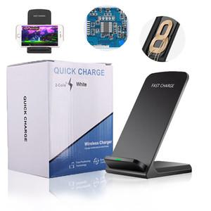 2 코일 무선 충전기 선창 충전기 역 홀더 10W 치 빠른 아이폰 XS MAX XR X 8Plus 삼성 S10EPlus에 대한 스탠드 패드를 충전