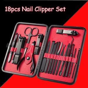 15 / 18pcs Stainless Steel Pro Clipper Set Menicure Pedicure Pedicure Decisions Cut Eagle Eagle Hook Twitzer Glooming Beauty Tools Kit