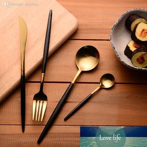 Stainless Steel Cutlery Gold Flatware Set Black Tableware Dinnerware
