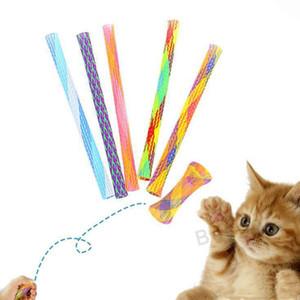 Rétractable Cat Teaser drôle de bâton de chat pour chat Chats Teaser Wand chaton ressort coloré Tube Pet action Interactive Jouets Fidget Toy BC BH2863