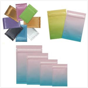 100pcs цвет герметизируют мешок из алюминиевой фольги прочный молнии мешок экологически чистые пластиковые мешки для длительного хранения продуктов питания две стороны цветной