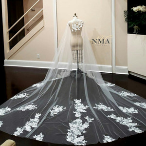 New Arrival Bridal Veils Cathedral Length Lace Appliques Wedding Wraps Custom Made High Collar Sleeveless Bridal Cape