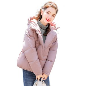 Winter jacket women short 2020 autumn new Korean fashion black pink loose thick hooded warmth down cotton coats feminina LR875