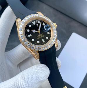 negocio de la moda de 41 mm resistente al agua reloj clásico de los hombres de goma del diamante hebilla de la superficie de la moda mecánico automático de los hombres