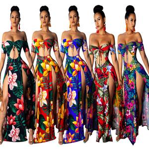 Womens dresses 섹시한 strapless 드레스 여성을위한 짧은 소매 인쇄 긴 드레스 Split 반소매 드레스 해변 파티 저녁 클럽 드레스