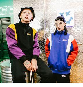 Zhangjiasheng Harajuku Farbblock Sweatshirt Pullover Streetwear Männer Hip Hop Vintage Hoodie Half-Zip Baumwolle Fleece Winter Herbst Hispter