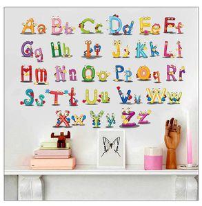 26 A alfabeto inglese Wall Stickers fumetto sveglio neonati per bambini in camera Kindergarten adesivi decorativi Wallpaper rimovibile